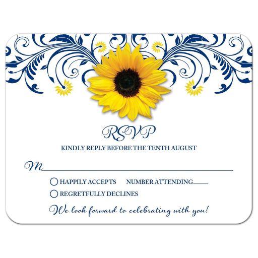 Navy blue yellow sunflower flower floral wedding RSVP card