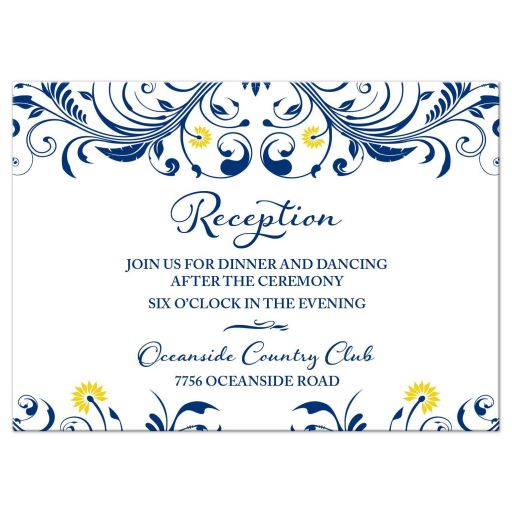 Elegant navy blue and yellow floral wedding reception insert card