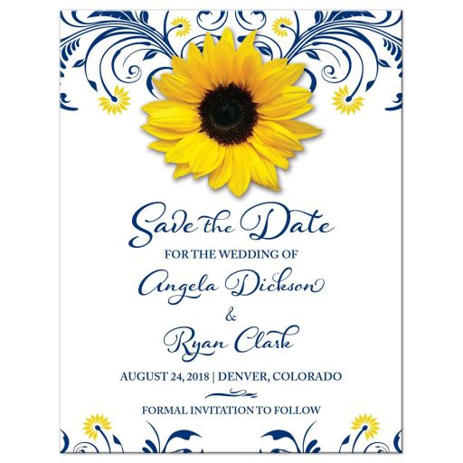 Navy blue and yellow floral sunflower flower wedding save the date announcement