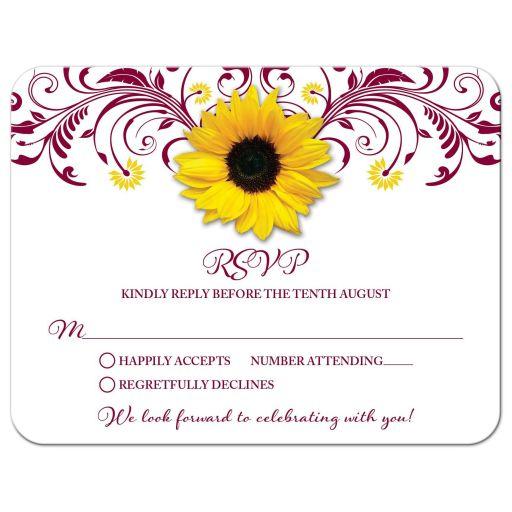 Burgundy yellow sunflower flower floral wedding RSVP card