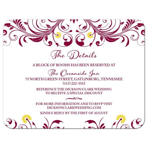 Elegant and intricate burgundy and yellow floral wedding details insert card