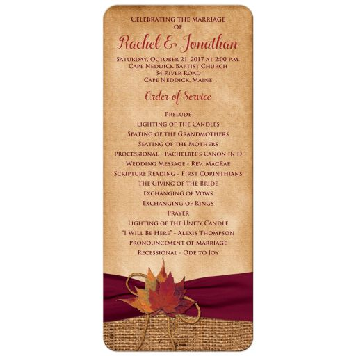 Wedding program cards with autumn leaves and burlap.
