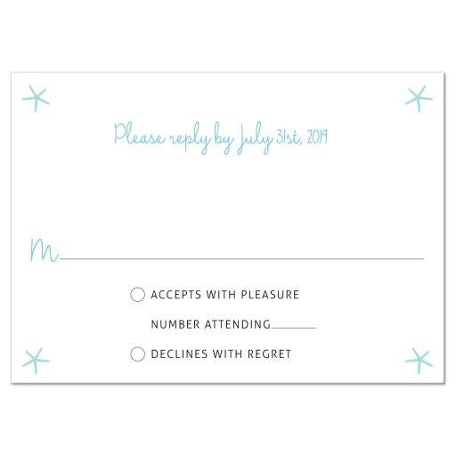 Nautical Ocean Wreath Destination Beach Wedding RSVP Reply Card