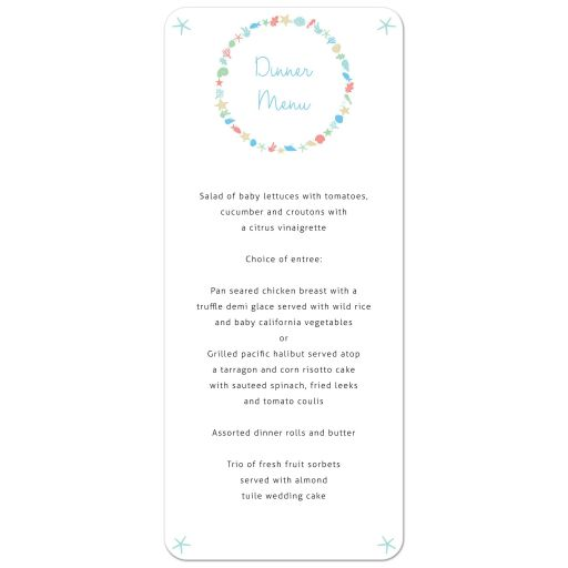 Nautical Ocean Wreath Destination Beach Wedding Menu Card