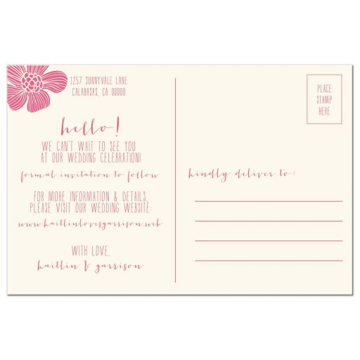 simple modern flowers save the dates back