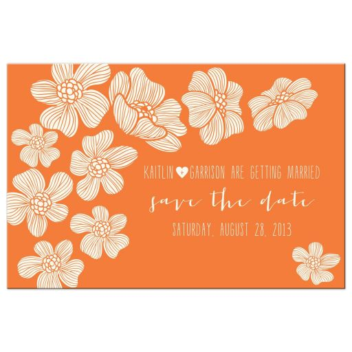 simple modern flowers save the dates front