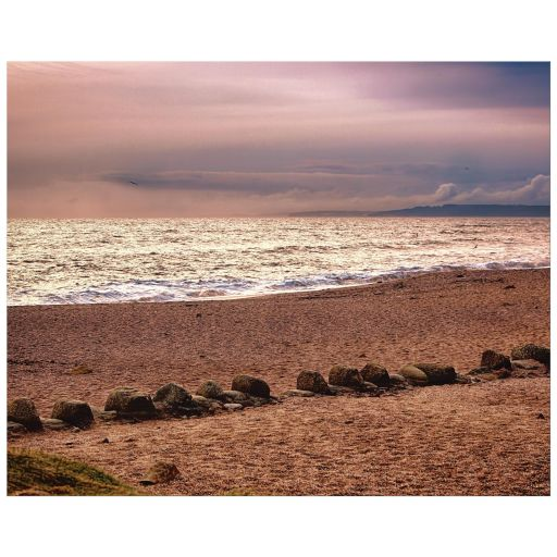 Beach at dusk art print