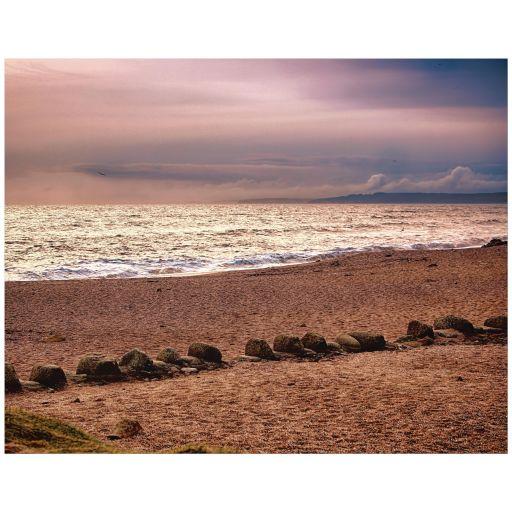 Beach at dusk art print