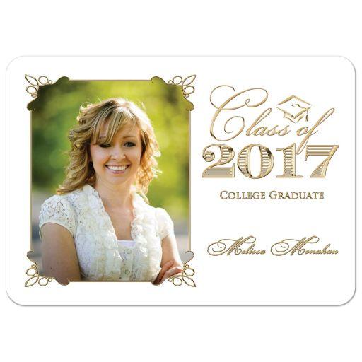 Elegant black, white, and gold photo graduation invitation