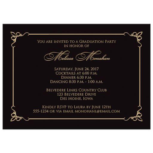 Gold, white and black grad invite with photo