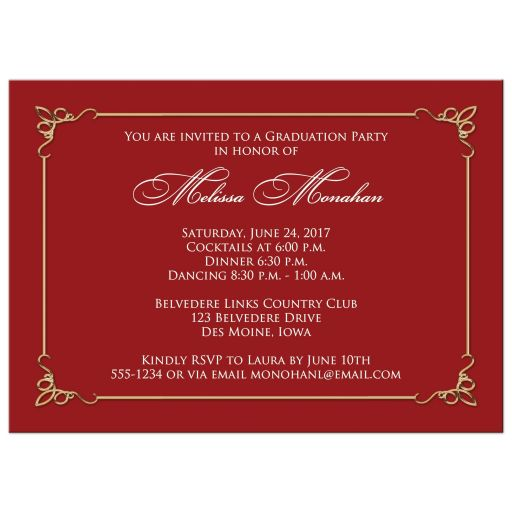 Gold, white and red grad invite with photo