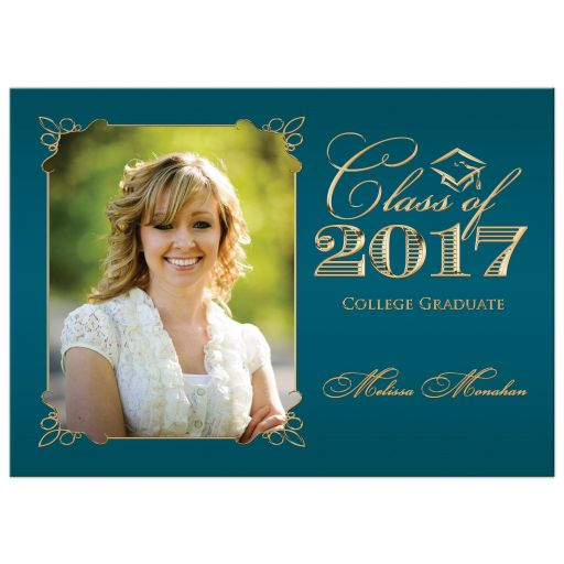 Teal and Gold Photo Graduation Invitation