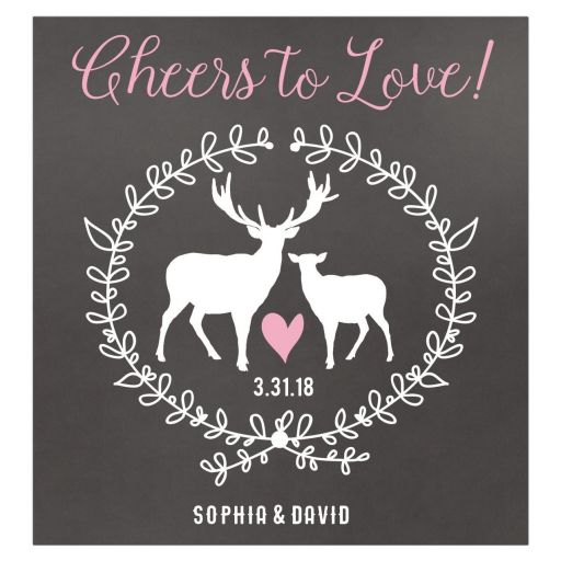 Cheers to Love Deer Wedding Wine Bottle Labels