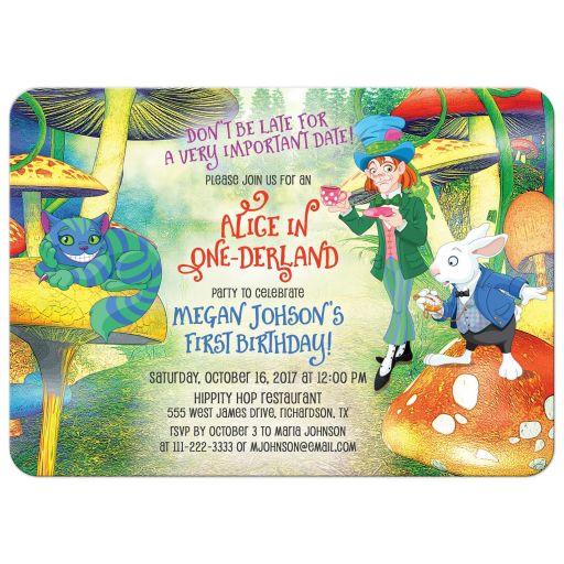 White rabbit, cheshire cat, mad hatter Alice in Wonderland 1st birthday invitation