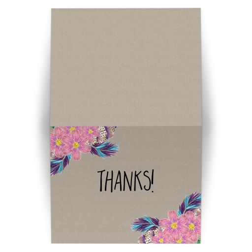 Boho Feathers Watercolor Floral Folded Thank you Cards
