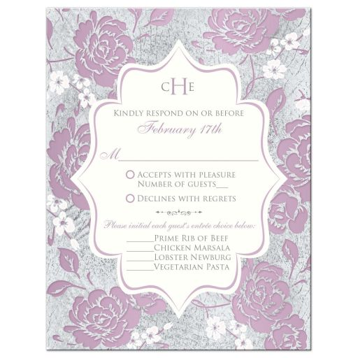 Vintage purple, pink, white and silver grey floral wedding response enclosure card insert with monogram and scroll.