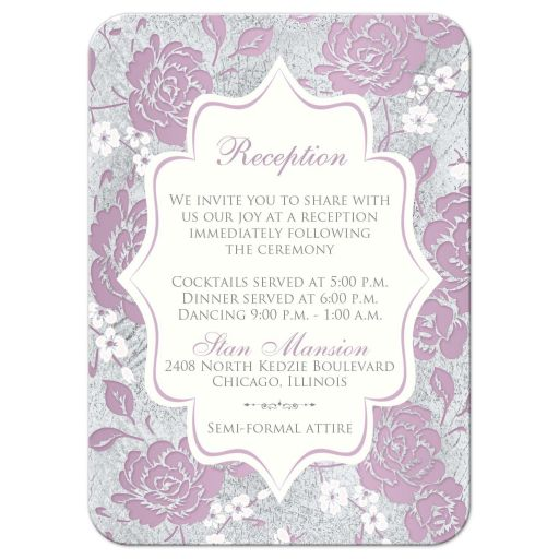 Vintage purple, pink, white and silver gray floral wedding reception enclosure card insert with accommodations information details and ornate scroll.