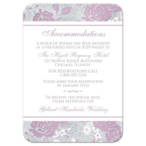 Vintage purple, pink, white and silver grey floral wedding reception enclosure card insert with accommodations information details and ornate scroll.