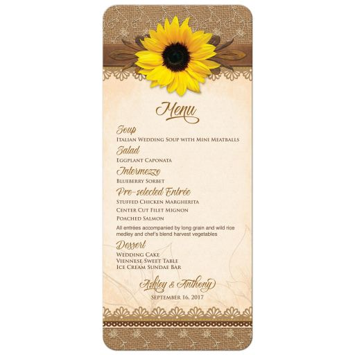 Rustic lace, burlap, wood and yellow sunflower country wedding menu front