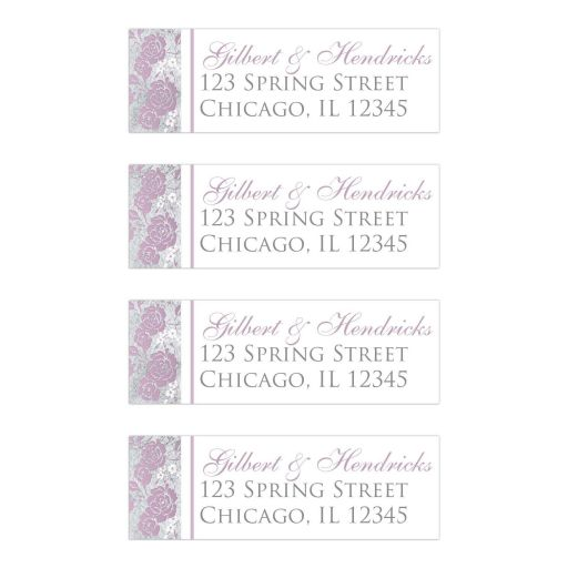 Personalized address labels with large lilac purple or mauve rose or peony type flowers on them with smaller white and pale pink flowers on a silver tone and grey textured look background.