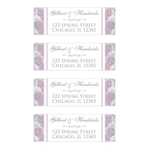 Personalized address labels with large lilac purple or mauve rose or peony type flowers on them with smaller white and pale pink flowers on a silver tone and grey textured look background with decorative scroll.
