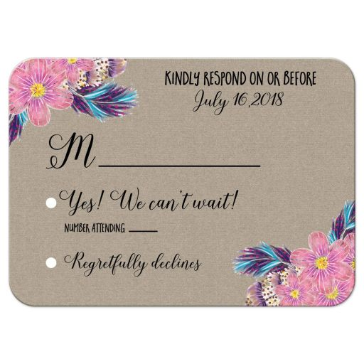 Boho Feathers Watercolor Floral RSVP Wedding Enclosure Response Cards