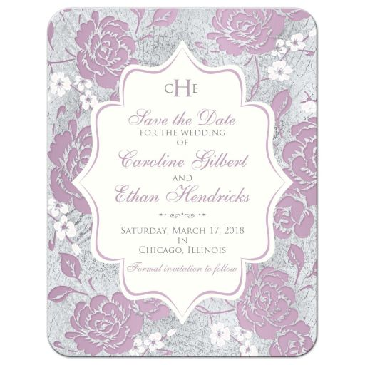 ​Vintage purple, pink, white and silver grey floral wedding save the date card with monogram, scroll and optional photo template.