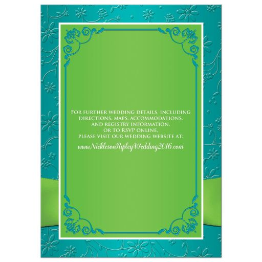 Wedding invite in turquoise blue, lime green and white with ribbon, joined jewel and glitter hearts.