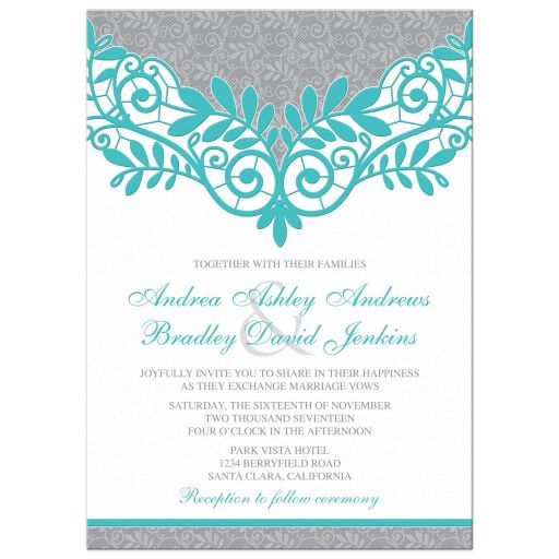 Turquoise Silver Gray Lace Wedding Invitation