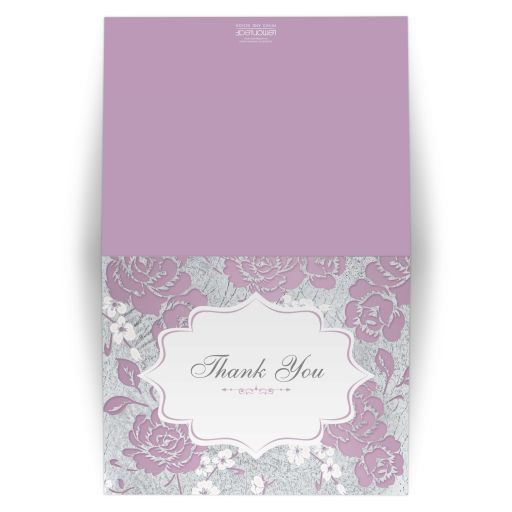Vintage purple, pink, white and silver grey floral wedding thank you card with ornate scroll.