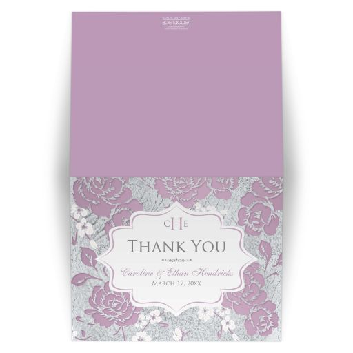 Personalized lilac purple, pink, white and silver grey floral wedding thank you card with monogram, ornate scroll and optional photo template.