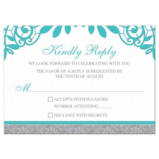 Turquoise Silver Gray Lace Wedding RSVP Card