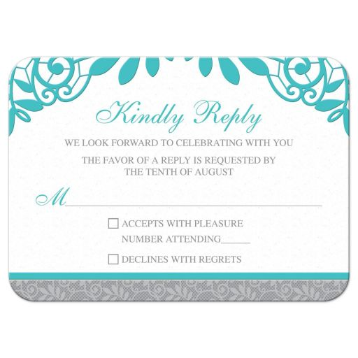 Elegant turquoise and silver grey lace wedding RSVP card front