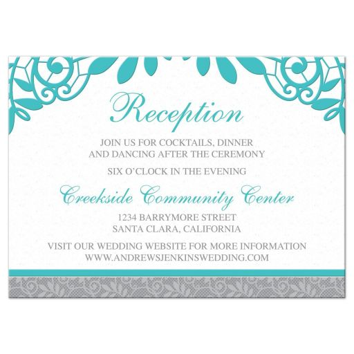 Unique turquoise Silver Gray Lace Wedding Reception Enclosure Card