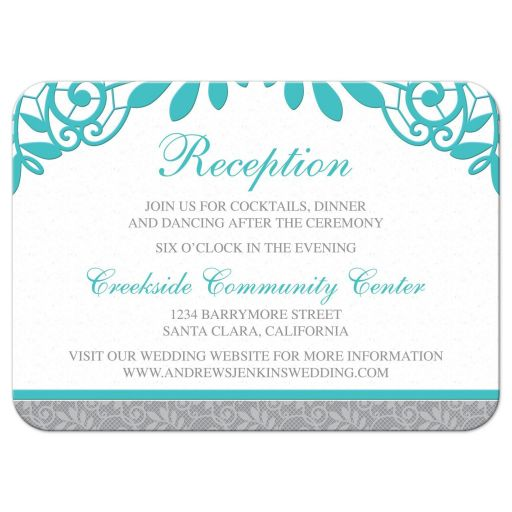 Elegant turquoise and silver grey lace wedding reception insert card front