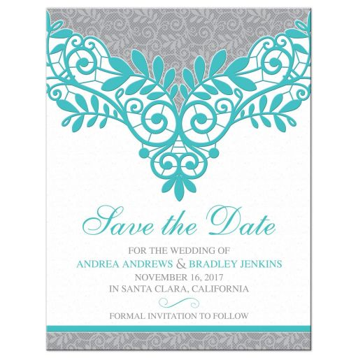 Unique turquoise Silver Gray Lace Wedding Save the Date Announcement