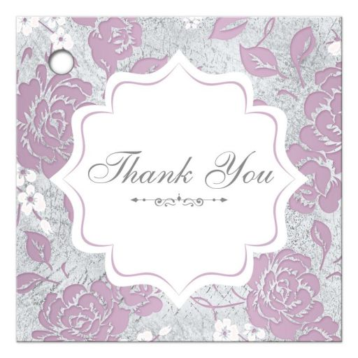 Vintage purple, pink, white and silver grey floral wedding favor thank you gift tag with ornate scroll.