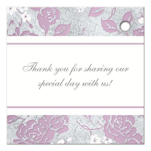 Personalized lilac purple, pink, white and silver grey floral wedding favor tag with ornate scroll, monograms and thank you message.