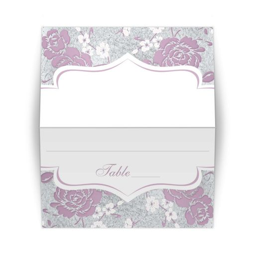 ​Vintage purple, pink, white and silver grey floral wedding place card or escort card with ornate scroll.