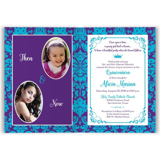 Purple, teal blue and white Mis Quince Años or Quinceañera 15th birthday invite with double photo templates, princess tiara, crystal jewels, ribbon and bow.