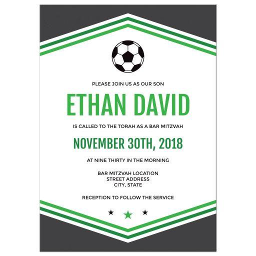 Modern Simple Green Gray Soccer Bar Mitzvah invitation