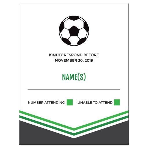 Modern Simple Green Gray Soccer Bar Mitzvah RSVP Card