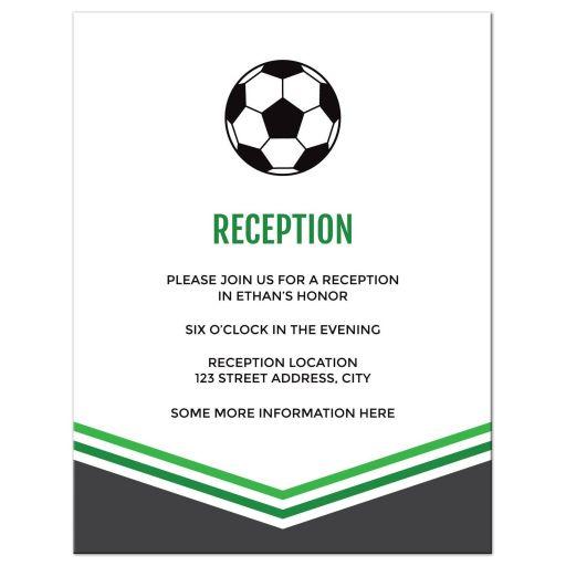 Modern Simple Green Gray Soccer Bar Mitzvah Reception Card