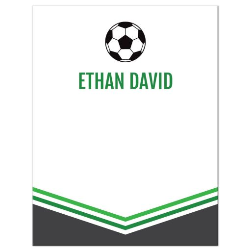Modern Simple Green Gray Soccer Bar Mitzvah Personalized Bar Mitzvah Flat Thank You card