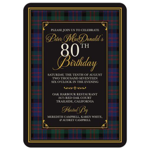 Scottish MacDonald tartan 80th birthday invitation front