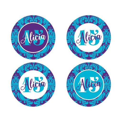 """ 2"""" round Quinceanera envelope seals in purple, white, and teal or turquoise blue damask with name and the number 15 on them."""
