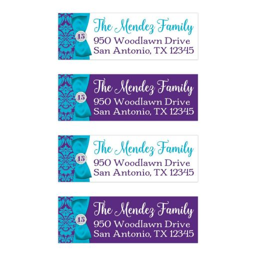 """Personalized 1""""x3"""" return address mailing labels in teal blue, purple, and white damask pattern for a Quinceanera or birthday party."""