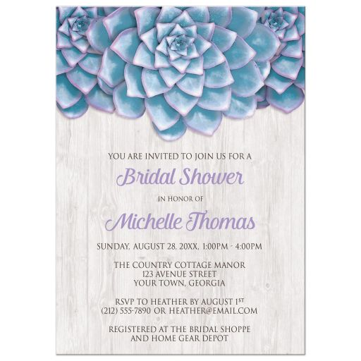Bridal Shower Invitations - Blue Purple Succulent Whitewashed Wood