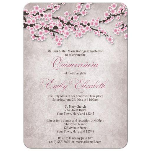 Quinceañera Invitations - Rustic Pink Cherry Blossom