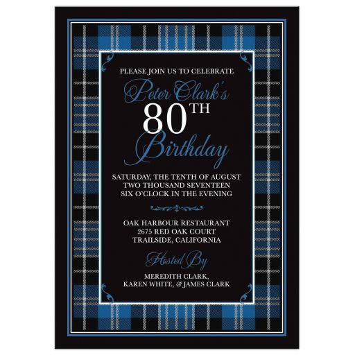 Scottish clan Clark tartan 80th birthday invitation front
